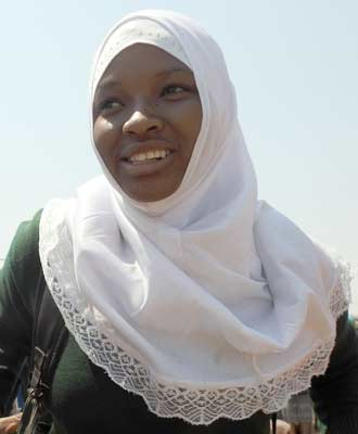 Girl wearing white hijab