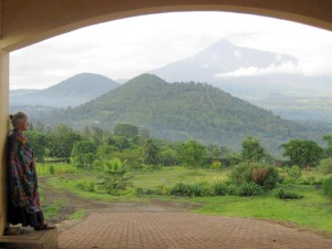 Jeannette gazes at Mt Meru from a house near Arusha