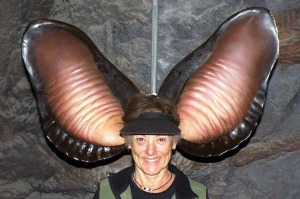 Jeanette wearing giant model bat ears